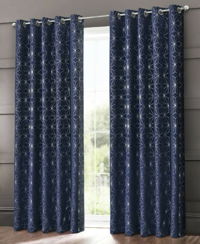 GEOMETRIC STAR METALLIC LIVINGROOM BEDROOM THERMAL BLACKOUT RING TOP EYELET CURTAINS NAVY